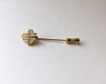 Vintage Trifari Gold Tone Stylized White Enamel Maple Leaf Lapel Pin Designed Signed