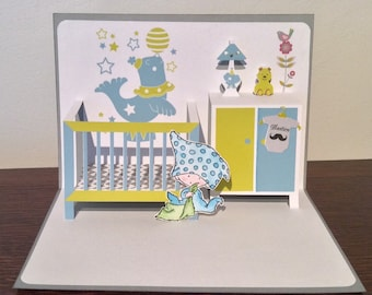 Pop up birth - welcome grey card and turquoise