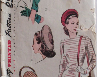 1940's Women's Accessories - Hat, Bag and Gloves - Simplicity 2173 - Glove Size 7