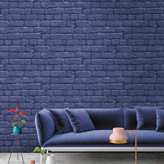 Blue Brick Effect Wallpaper Paste The Wall 10meter