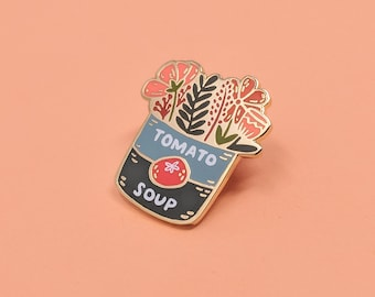 Tomato Soup Bouquet Enamel Pin | Hard Enamel, Enamel Pin, Lapel Pin, Flair, Flower Enamel Pin, Floral Enamel Pin, Gifts for Florist