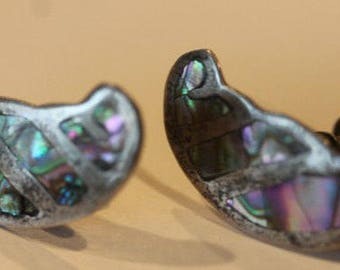 Taxco Mexico sterling silver abalone shell screw on earrings