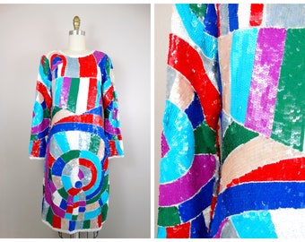 80's Neon Sequin Dress / Geometric Colorblock Sequined Party Dress / Bright Sequined Trophy Dress