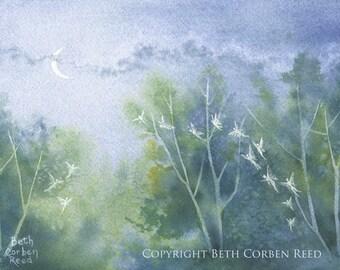 """Fairy Art """"Summer Faery Night"""" - Original Painting"""