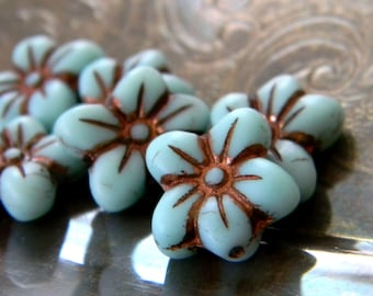 Bronze Sky (6) -Czech Glass Star Flowers 14x13mm