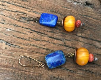 Rectangle Lapis Amber and Coral Earrings