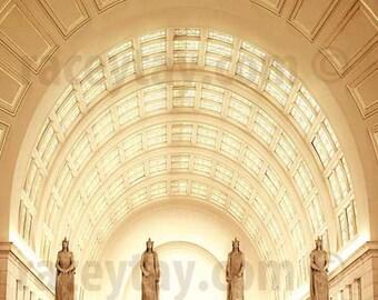 Union Station - Washington DC Art Deco Architecture Travel Gift Gold Yellow - Travel Photography Office Decor