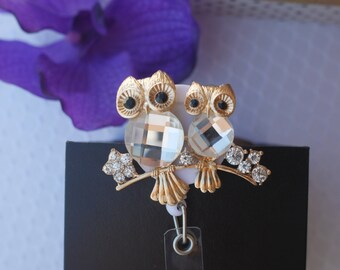 Gold Plated Rhinestones Couple Owls Retractable Name Badge Holder