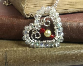 Valentines Day Sterling Silver Wire Wrapped Pendant