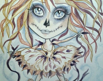 Dead Ballerina Horror Fantasy Lowbrow Art Print by Leslie Mehl 8.5 X 11