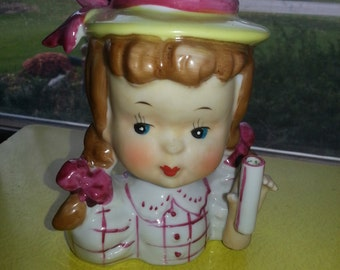 "Vintage 1950s Napco Hand Painted Porcelain ""Umbrella Girl"" Small Lady Head Vase RARE!"