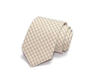 Khaki Gingham Necktie~Anniversary Gift~Wedding Tie~Boys Necktie~Mens Necktie~Wedding~Mens Tie~Boys Tie~Mens Gift~Tan Tie~Khaki Tie