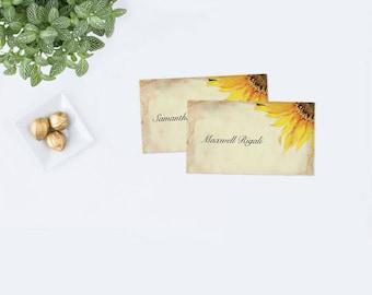 Editable Sunflower Place Card Template, Sunflower Wedding, Escort Cards, Printable TemplateEditable Place Cards, DIY Place Cards, Rustic