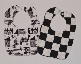 Baby Bib black and white check