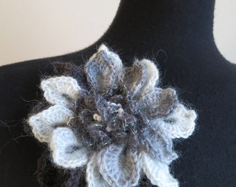 FREE US SHIPPING - White Light Gray Dark Charcoal Color Acrylic Wool Yarn Fashion Crochet Flower Brooch Hat Hair Scarf Shawl Pin