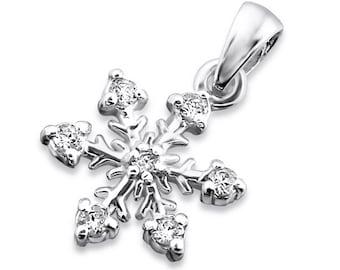 CZ Snowflake Pendant 925 Sterling Silver - PD1452