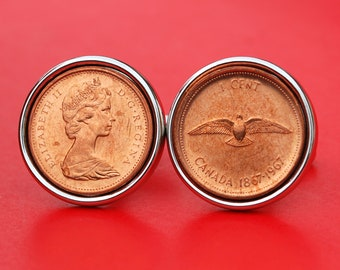 1967 Canada One Cent BU Uncirculated Coin Cufflinks  NEW - Dove with Wings Spread and Elizabeth