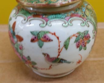 Two small chinese trinket boxes   1 x porcelain and 1 x Cloisonné   sizes in description