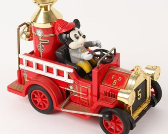 Vintage Walt Disney Productions - Mickey Mouse Fire Truck, Mickey Mouse Toy, Collectible Walt Disney Toys, Collectible Toys, Vintage Cartoon