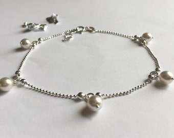 Sterling Silver Pearl Summer Chain Anklet, Pearl Ankle Chain, Beach Anklet