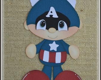 Captain America Super Hero Avenders Premade Scrapbooking Embellishment Paper Piecing
