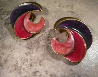 Gold Tone Swirl Purple Enamel Red Pink Clip On Earrings
