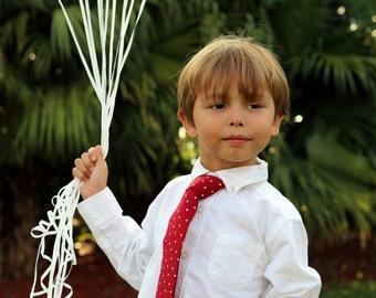 Boys red necktie, red white polka dot cotton tie for boy, infant baby toddler child preteen necktie, boys necktie, birthday tie, ring bearer