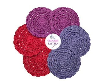 CROCHET PATTERN Gemstone Coasters, by Cozy Hat.