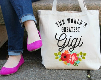The World's Greatest Gigi XL Canvas Tote Bag