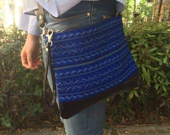 Blue boho bag, Blue boho crossbody bag, Blue boho Clutch, Blue ethnic bag, Woven fabric boho bag, Leather boho bag,