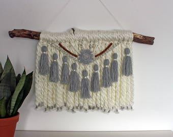 White and gray tassel and pompom tapestry - boho decor - bohemian interior - wall hanger yarn - wall tapestry - handmade - ethnic art