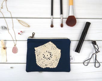 Linen Lace clutch zipper pouch small size - VINTAGE ISABELLA  in Midnight - vintage cotton lace, linen cosmetic bag, passport case