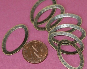10 pcs of Antiqued brass hammered Oval  Links 28X17mm