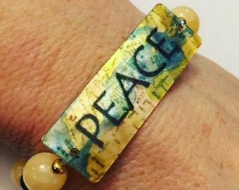 Peace Bracelet, Inpsirational Bracelet, Swarovski Crystal and Gemstone Bracelet, Peace Gift