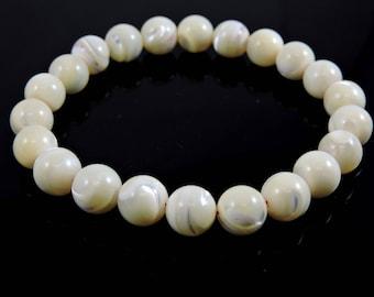 Mother of Pearl Wrist Mala for Meditation Healing Beads CG-1