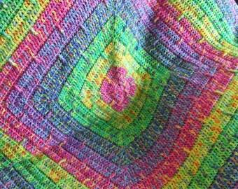 Crochet Afghan Blanket - Striped Rainbow Lapghan
