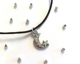 Crescent moon stars charm choker necklace black cord statement boho
