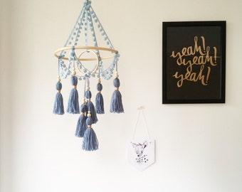 Nursery mobile, boho nursery decor, baby mobile, crib mobile, tassel decor, bohemian mobile, cot mobile, boho mobile, blue baby mobile