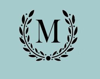 STENCIL Custom Initial Monogram Wreath - Various sizes