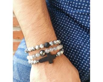 Mens clouded crystal & hematite bracelet