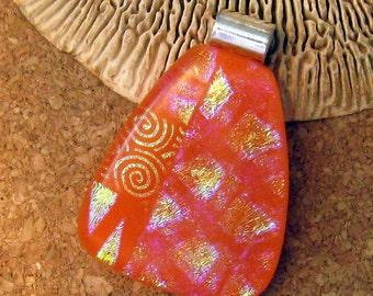 Orange Dichroic Pendant - Fused Glass Pendant - Fused Glass Jewelry - Orange Glow