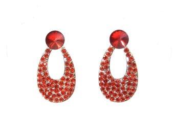 "Earrings creator ""Xenia"" mount shank in silver, swarovski crystal Rhinestones, OOAK, handmade"