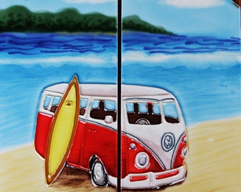 Red Van and surfboard