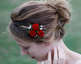 "Headband flower ""Ines"", hair adornment genuine stabilized natural flowers, fine chain headpiece with mesh COB"