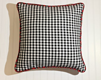 20x20 Flannel Square Decorative Throw Pillow Cover with Piping, Rustic Cabin Pillow, Denim Backed