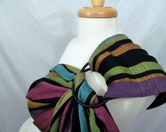 Little Frog Flourite Ring Sling Baby Carrier wrap conversion - Twill Weave Pleated Shoulder - DVD included