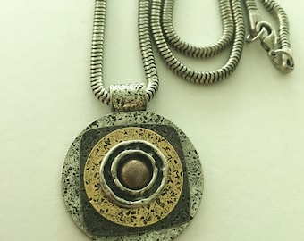 Multi Metal Geometrical Pendant Necklace
