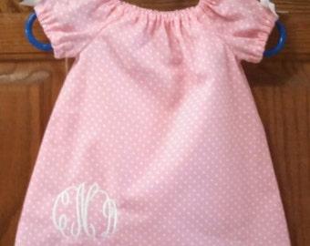 Monogrammed Peasant Dress for Baby/Toddler/Girl, Valentine Dress, Spring Dress, Easter Dress, Summer Dress