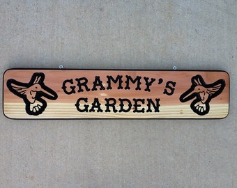 Grammy's Garden Custom wood carved sign- perfect gift for Christmas,Mothers Day, Birthday