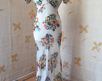 1930s floral silk chiffon bias cut gown with sleeve ruching